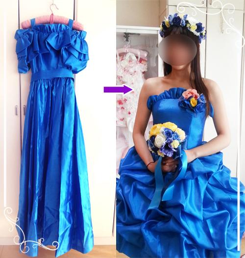 お母様のドレスをミニドレスへとドレスリメイクした花嫁さま。
