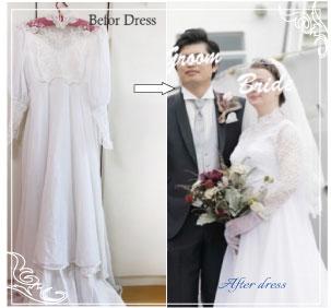お母さまの昔のウェディングドレスを袖デザインを変えてドレスリメイクされた例。