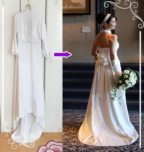 お母様のドレスイメージを崩さないようにアメリカンスリーブドレスのリメイク例です。