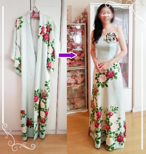 お母様のお手持ちの着物を着物ドレス(和ドレス)としてリメイクした例です。