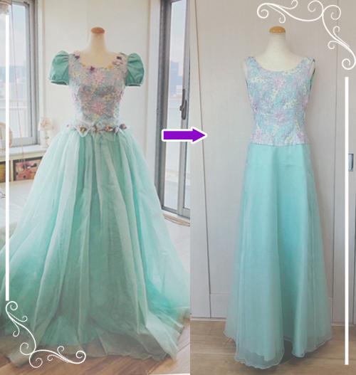 お持ちのドレスのトップスとスカートのラインを変えたドレスリメイクした例です。