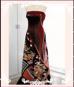 和ドレス(着物ドレス)のAラインドレス