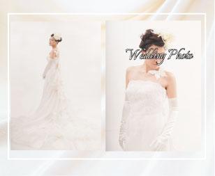マーメイドラインのウェディングドレスで結婚写真のフォトプランです