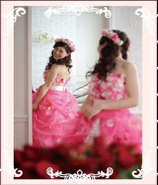 フワフワピンクお花ドレスへのリメイク例