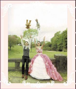 プリンセスラインのお花ドレスへリメイク