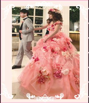 オーダーのピンクお花ドレス