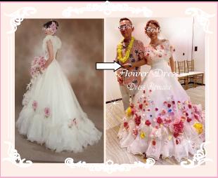 カラフルなお花のドレスへリメイクした実例