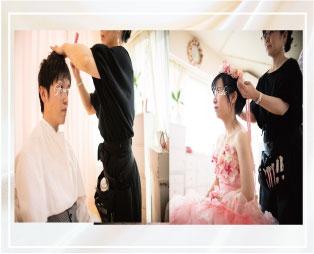 結婚写真のヘアメイク風景