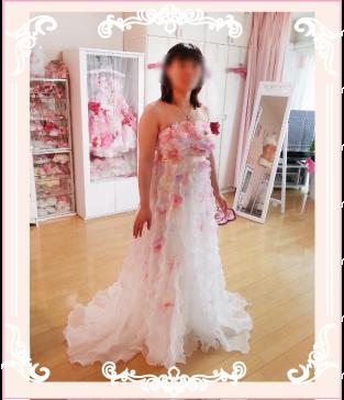 ピンクのお花ドレスのエンパイヤドレスにリメイク