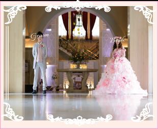 フルオーダードレスのピンクお花ドレス