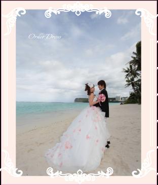リゾートウェディングのお花ドレス
