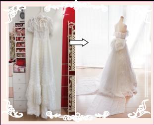 お母さまのウェディングドレスをリメイクした実例