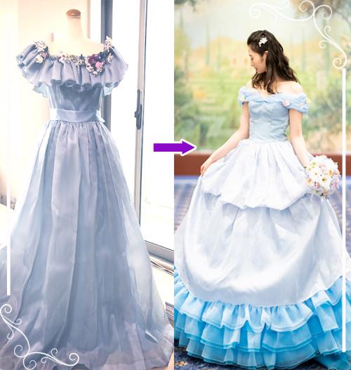 お手持ちのワンピースドレスをバルーンスカートのドレスへリメイクされた例。