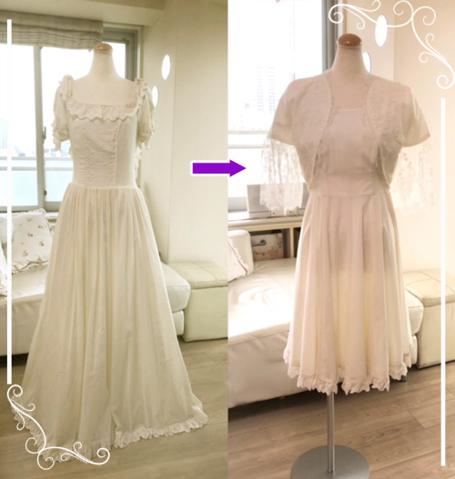ご使用されたウェディングドレスをワンピースへとドレスリメイクした参考例