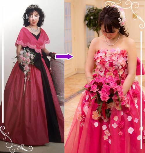 お母さまのウェディングドレスをお花ドレスへとリメイクした参考例