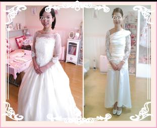 ウェディングドレスをリメイクした花嫁様の紹介
