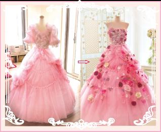 ピンクのお花ドレスへとリメイクした花嫁さま